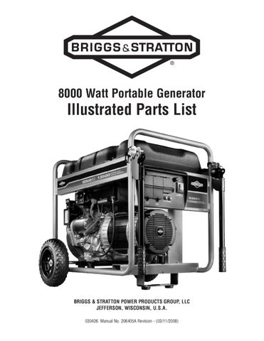 Briggs And Stratton 8000 Watt Generator Manual