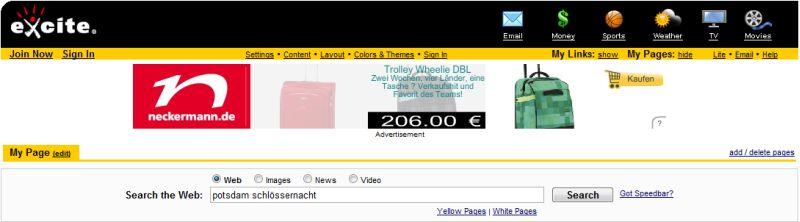 Suchmaske von Excite.com