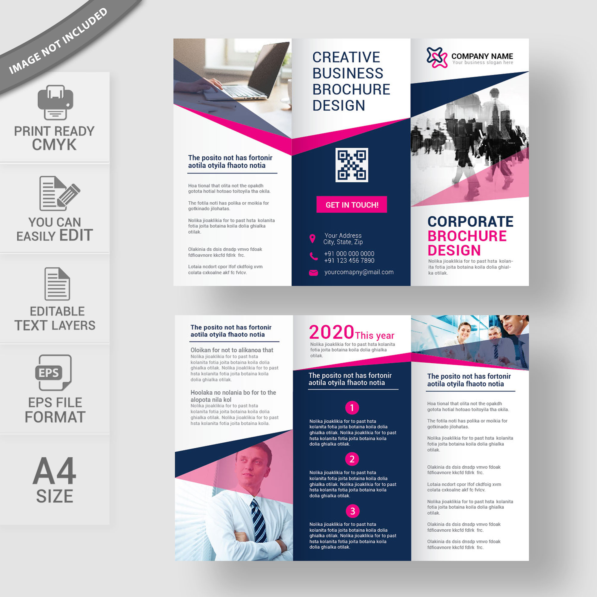 Tri Fold Brochure Free Vector Download Print Ready Wisxi Com