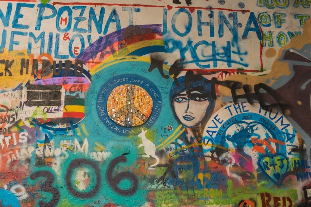 photo of the lennon wall artwork in prague