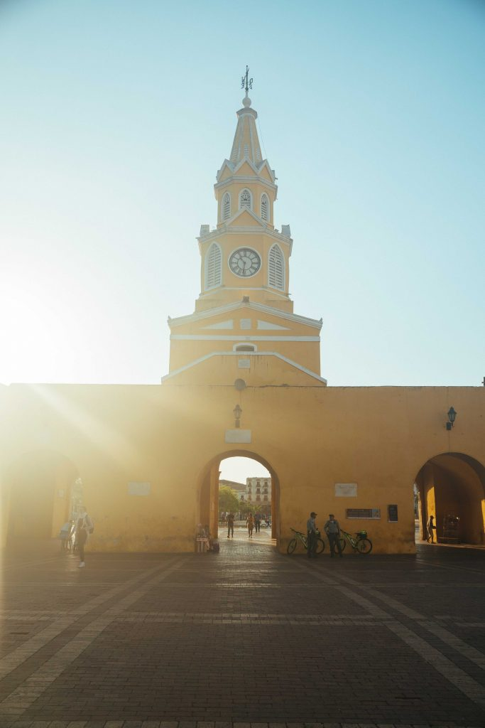 Famous Clock Tower of Old Walled City Cartagena at Sunrise 3 - witandfolly.co-1