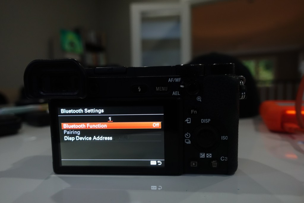 picture of sony a6500 bluetooth settings menu