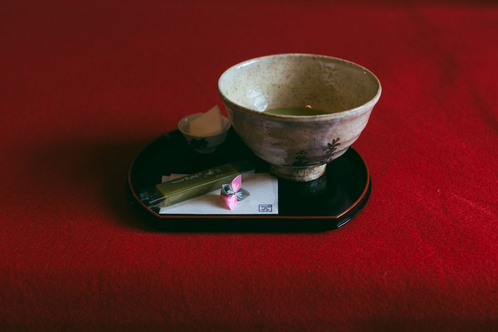 tea cup with red background