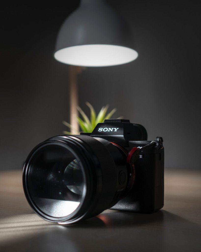 photo of black sony camera