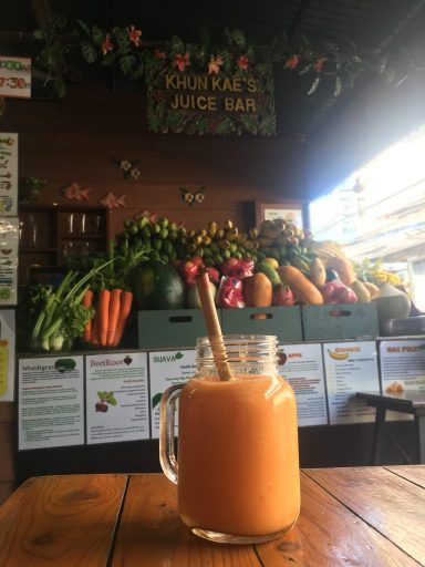 Delicious immunity smoothie on table. Located at Khun Kae Juice Bar in Chiang Mai, Thailand