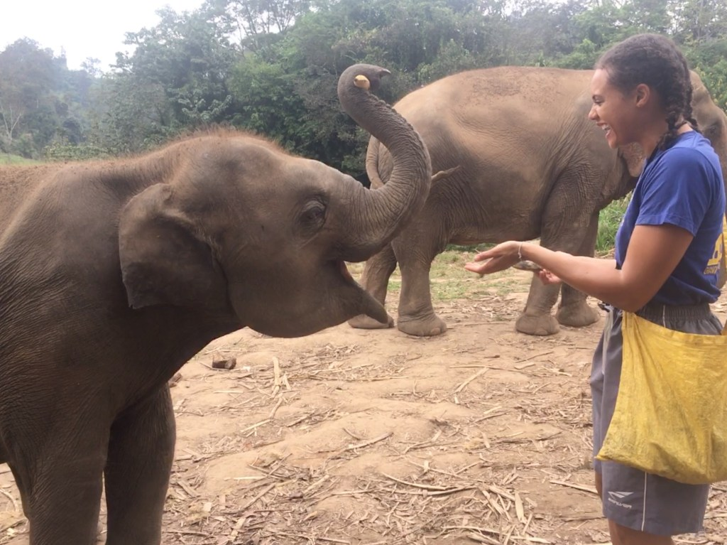 Laughing with a baby elephant at Chiang Mai Mountain Sanctuary in Chiang Mai, Thailand