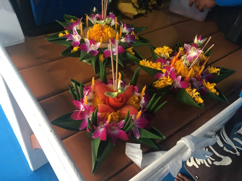 Finished flower boats for Loy Krathong ceremony in Phang Nga Bay, Thailand.