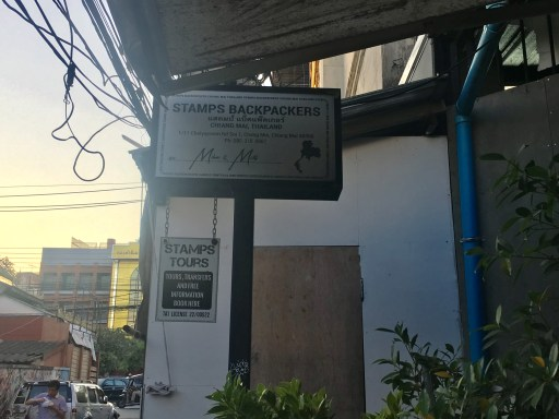 Stamps Backpackers Hostel exterior, across from Old City, Chiang Mai, Thailand