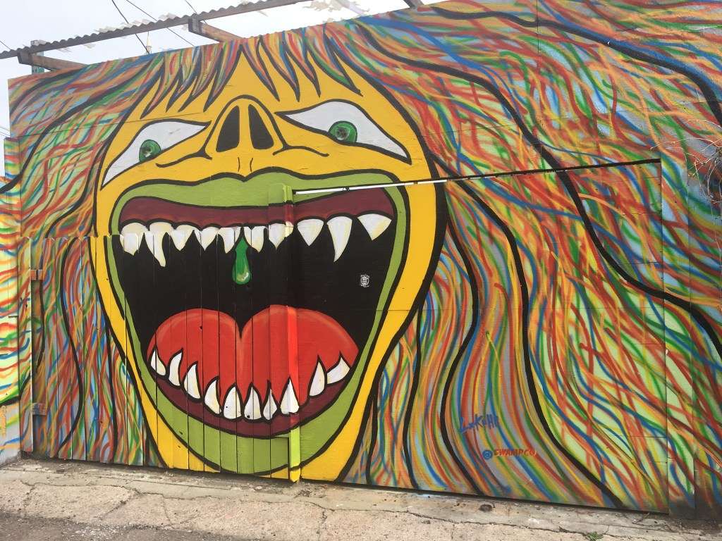 Cool graffiti of a lion-like face, in RiNo arts district in Denver, Colorado