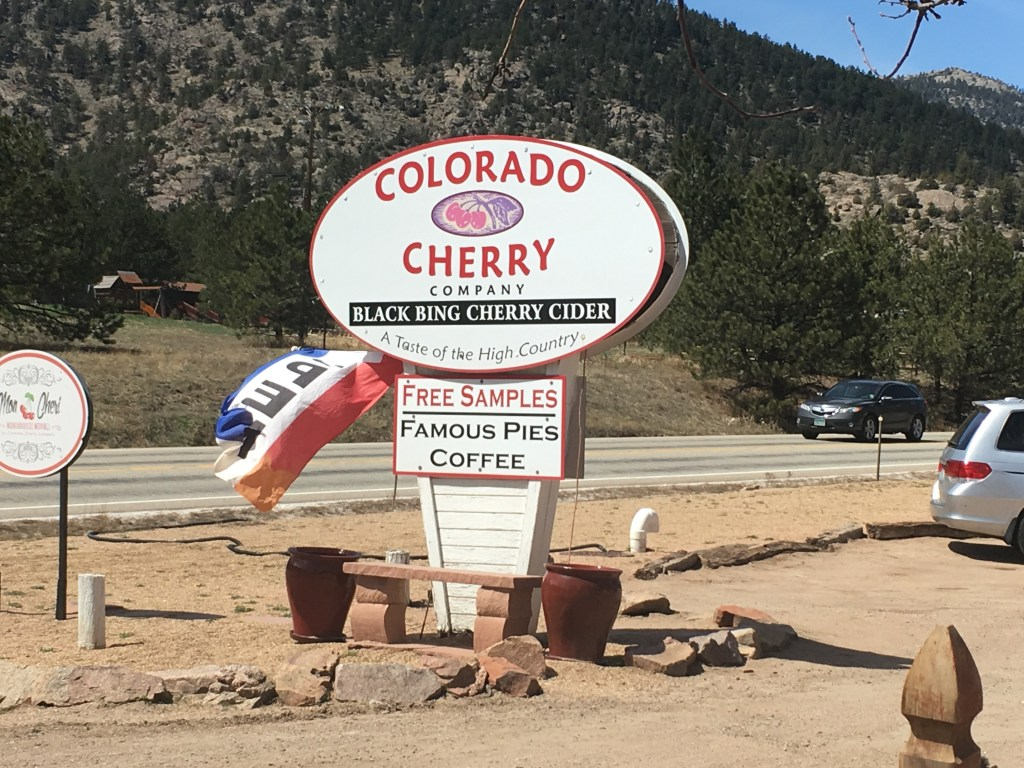Photo of sign outside Colorado Cherry Company near Boulder, Colorado