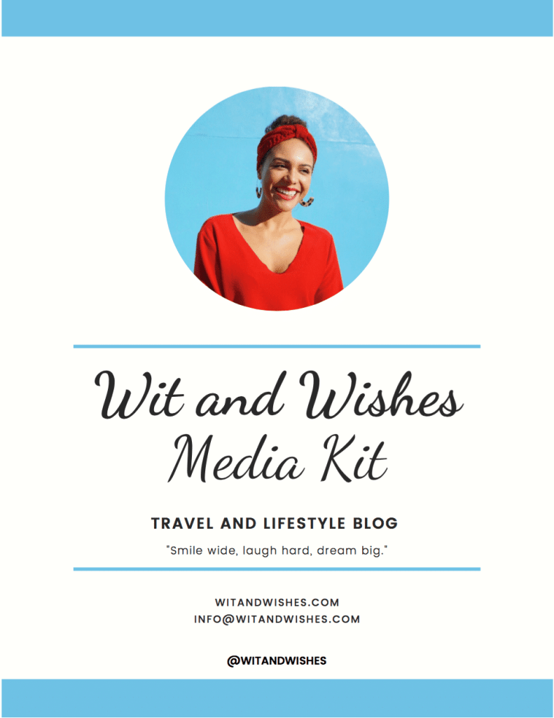 Media Kit for travel and lifestyle blog Wit and Wishes