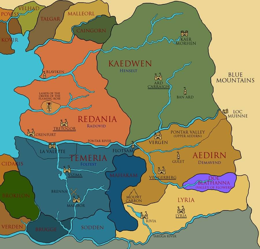 Map of the Northern Kingdoms from the Witcher series