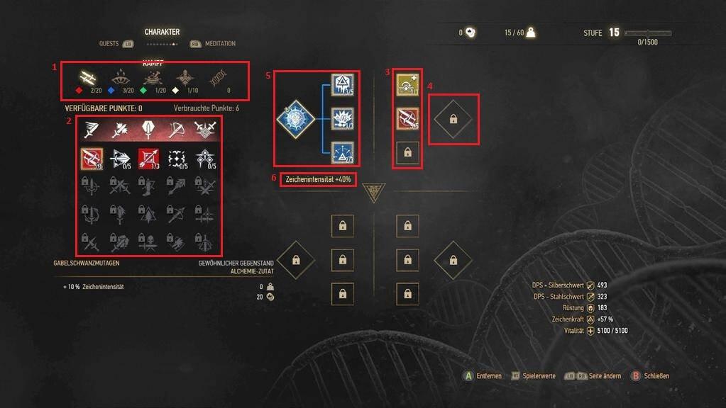 Witcher 3: Wild Hunt Skills Menu