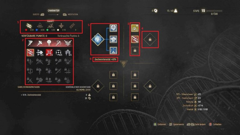 Witcher 3: Wild Hunt Skills Menu