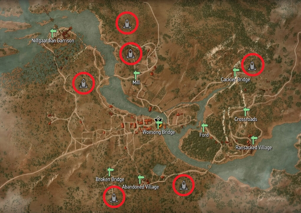 Witcher 3 - White Orchard Place of Power Map Locations