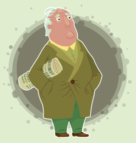 Cartoon of an elderly white haired man in an overcoat holding a newspaper under his arm and a print blot behind him