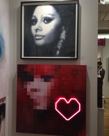 Portraits. Top is Sophia Loren, bottom is Bjork. Artist Moriello. Affordable Art Fair. April 2016. Photo by Michele Witchipoo.