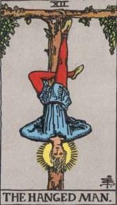 The Hanged Man tarot card, drawn by Pamela Coleman Smith