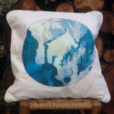 Little House printed and embroidered cushion