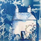 Detail of cyanotype and embroidery