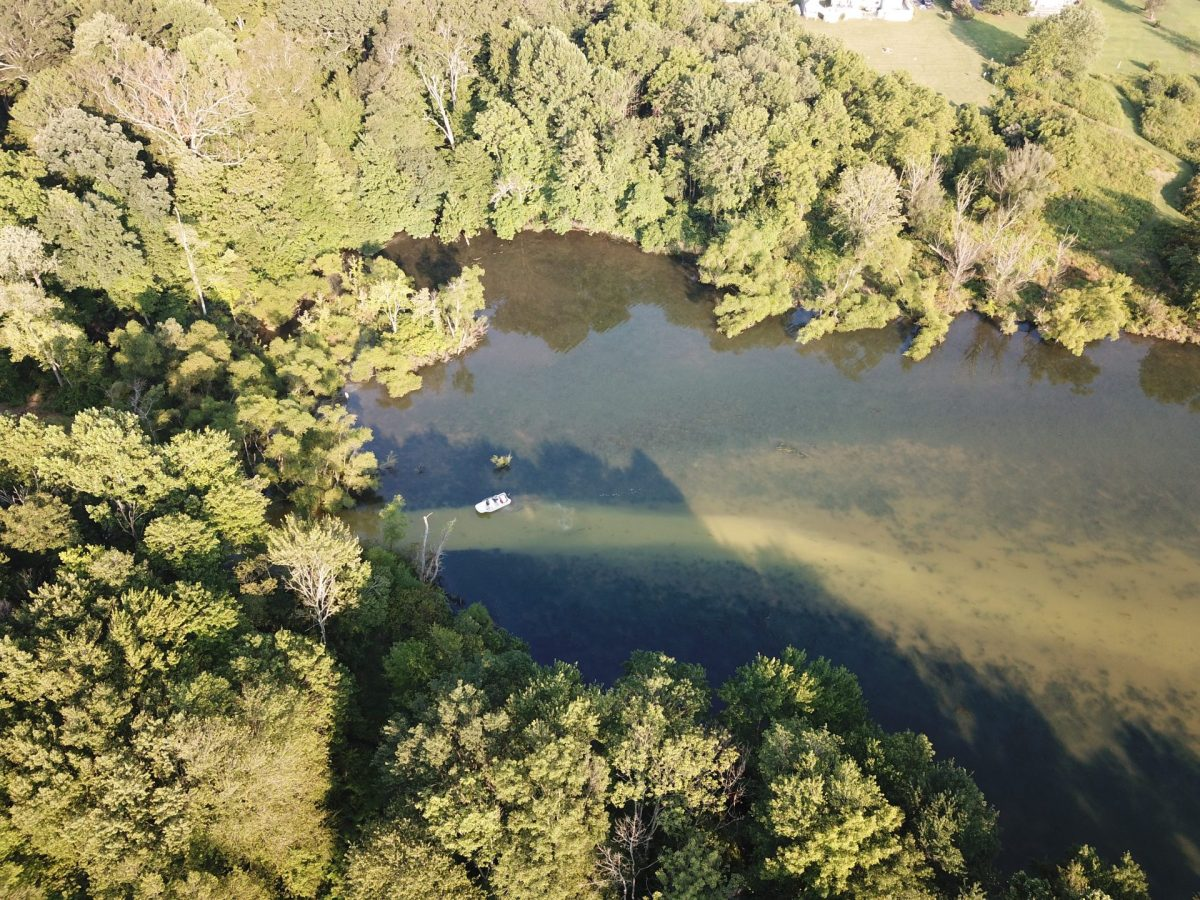drone footage of Marsh Creek Lake spill