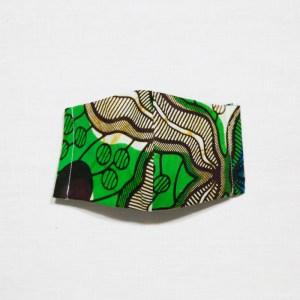 🤝完 売🤝【夏 リネンマスク】アフリカンプリントマスク #13-11 揺れる葉のようで柔らかい印象に