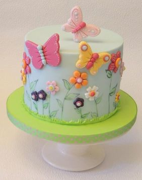 Blue Floral Butterfly Cake With Best Compliments