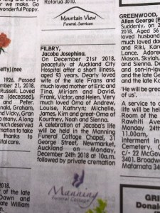 The death notice of Jacoba Filbry, noting her death on 21st December, funeral on 24th December, and her family:husband Frans, children Eric, Miriam, Frank, Victor and Helen, and grandchildren and great-grandchildren.