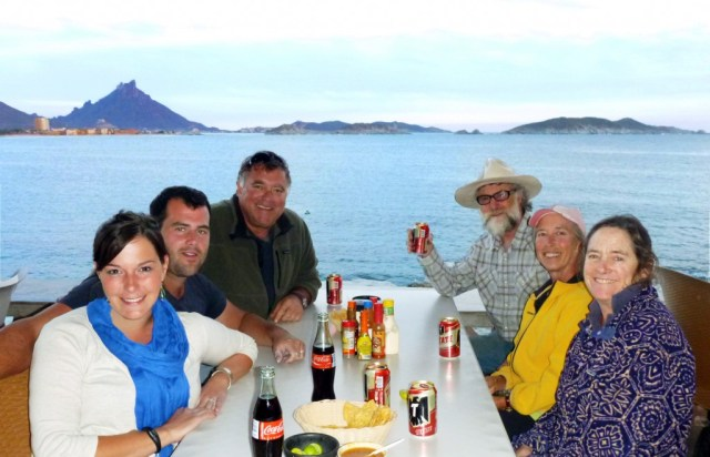 "The San Carlos ""Workyard Crew"" - enjoying dinner and a view"