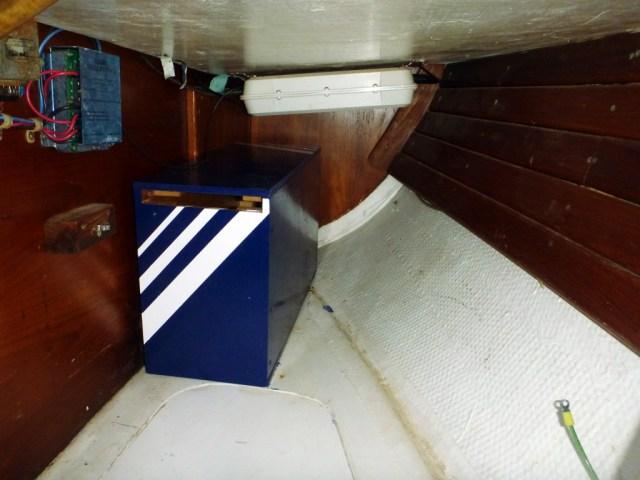"""Battery box in the quarter berth - with it's new """"Brio Stripe"""""""
