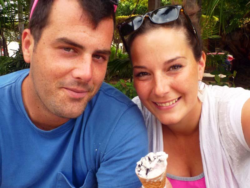 "Gosh I love ""galleta"" ice cream - in Mazatlan square"