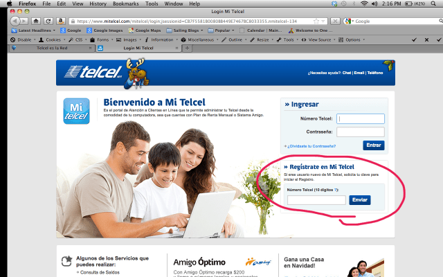 Registering your phone number with Telcel - to get a clave (pin) to create an account