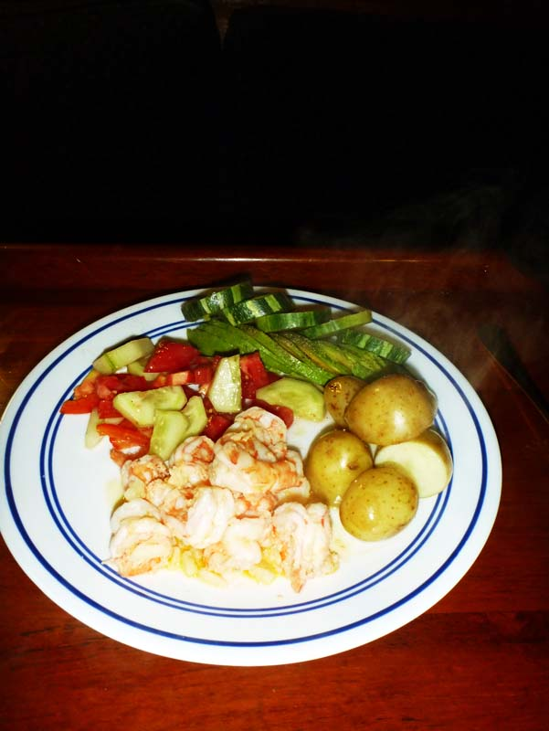Mazatlan shrimp, greek salad, new potatoes and avocado for dinner