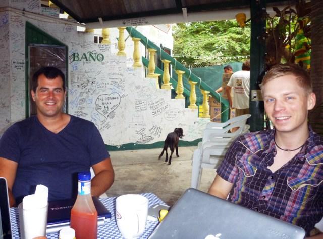 Breakfast and internet at Anna Banana's cafe