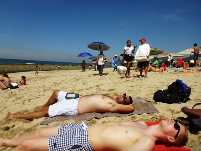 The boys sun tanning in Sayulita
