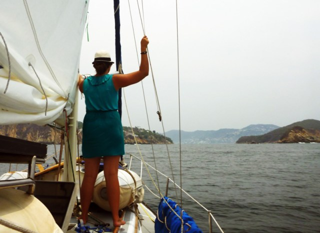 Leah on deck as we come into Acapulco