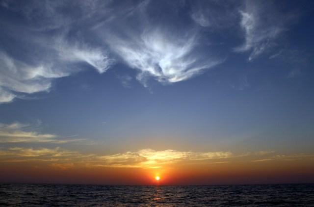 Sunset on passage