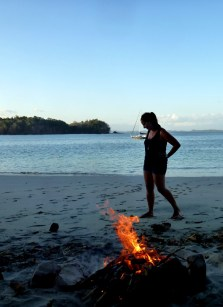 beach fire in Isla Gamez