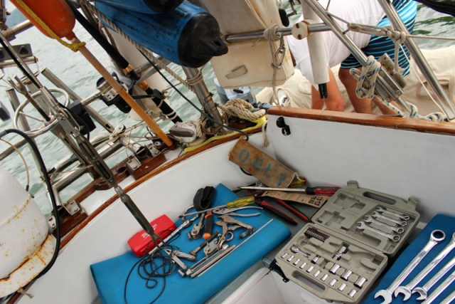 Installing the new backstay rigging