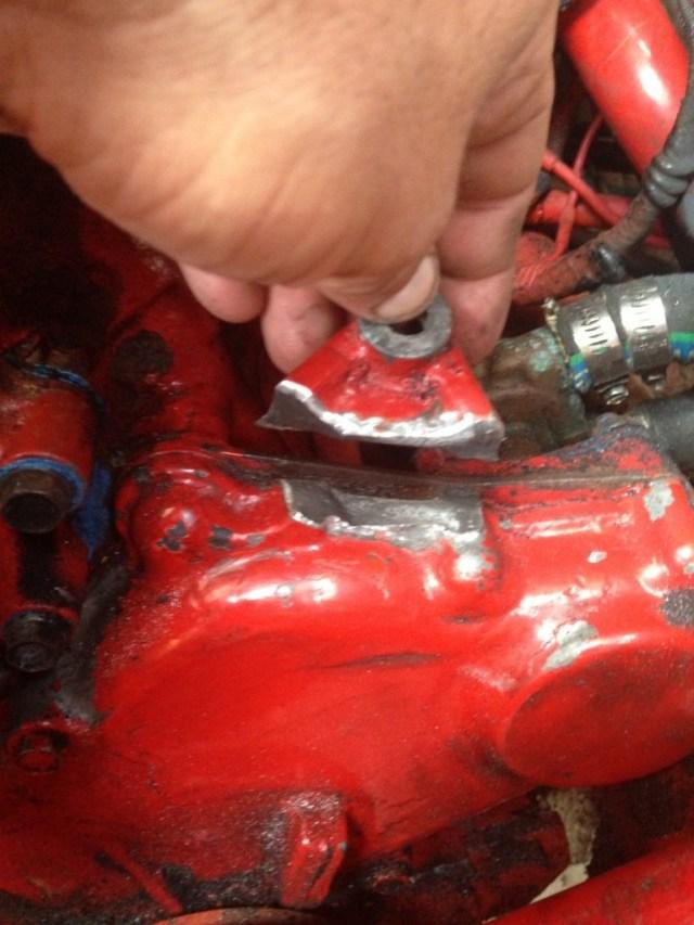 Broken alternator mount on a Westerbeke 21 hp