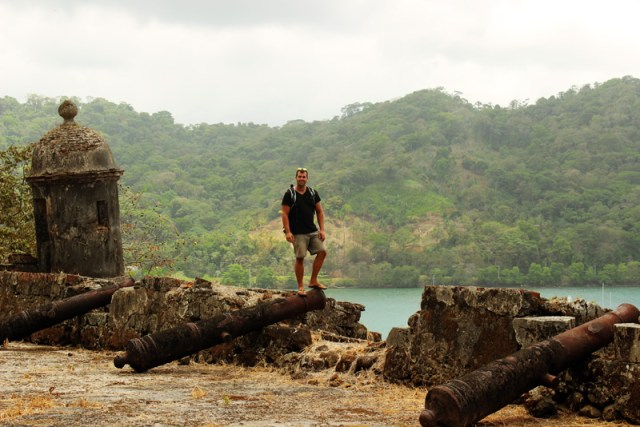 Jon on top of Fort at Portobelo, Panama