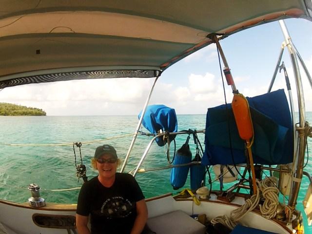 Maureen sailing on Brio