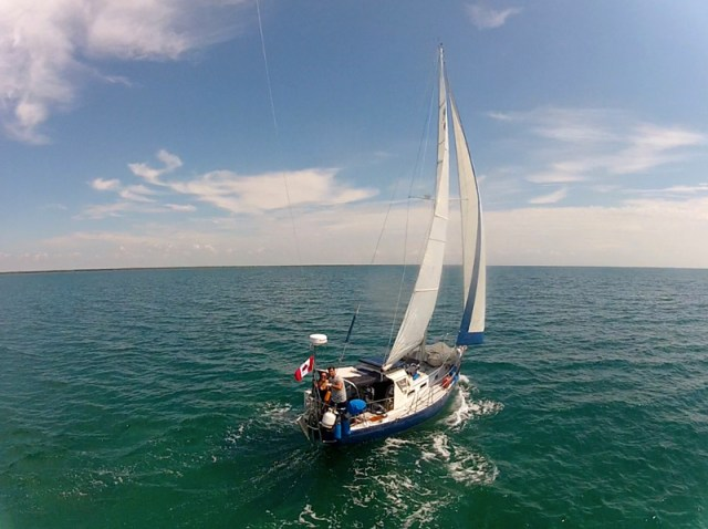 Flying a GoPro on a kite on a sailboat - Florida Key cruising - KAP on a sailboat