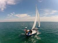 Flying a GoPro on a kite on a sailboat - Florida Key cruising - KAP on a sailboat