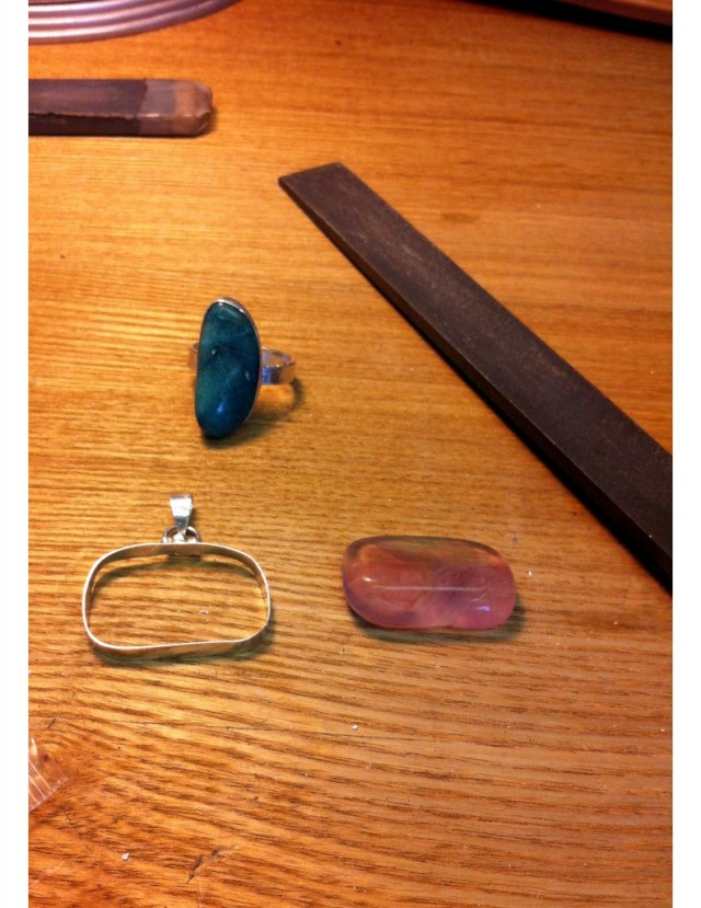 Amethyst and Crysocolla rings and pendants