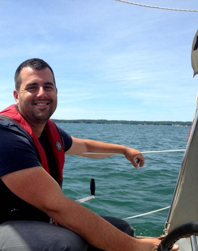 Jon sailing on Brio