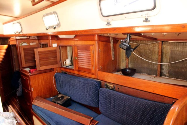 Interior of the boat torn apart for the toerail project