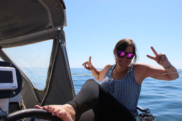 Leah is a dork while sailing