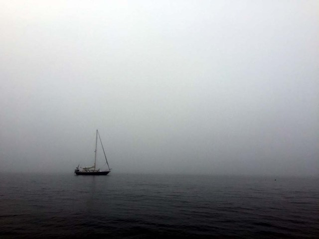 Sailing in the fog in Maine