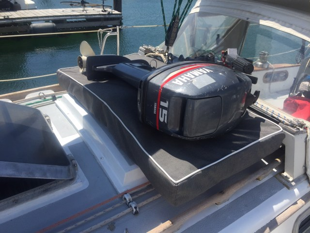 Big outboard on a little boat - cushion made of lifejackets